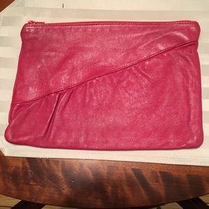 Vintage rose pink color leather clutch bag purse